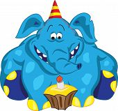 foto of ear candle  - Cheerful elephant sitting and looking at cake with a candle - JPG