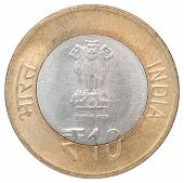 picture of indian currency  - New 10 gold Indian rupees on a white background - JPG