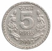 stock photo of indian currency  - Five silver Indian rupees on a white background - JPG