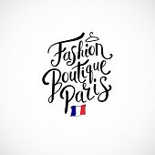pic of boutique  - Simple Text Design for Fashion Boutique Paris Concept with Small French Flag - JPG