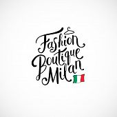 image of boutique  - Simple Text Design for Fashion Boutique Milan Concept with Small Italy Flag - JPG