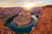 stock photo of horseshoe  - Amazing Vista of Horseshoe Bend in Page Arizona - JPG