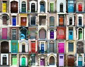 stock photo of front-entry  - Collection of various unusual and colorful doors - JPG