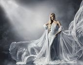 foto of ladies night  - Young Woman in Fashion Shiny Dress Lady in Flying Clothes Girl under Star Light Cloth Fluttering and Flowing - JPG
