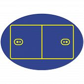 picture of netball  - Vector of a blue ad yellow korfball court - JPG