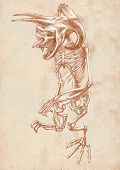 foto of bigfoot  - Illustration of a series of legendary animals and monsters  - JPG