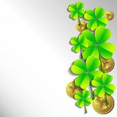 picture of shamrock  - Holiday card with shamrocks and coins on grey background on St - JPG