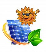 picture of solar battery  - Happy trendy sun wearing sunglasses and cheering with a photovoltaic panel for producing sustainable solar energy entwined with a green eco leaf - JPG