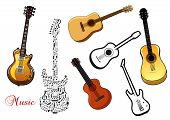 image of guitar  - Set of musical guitar instruments in various shapes depicting acoustic and electric guitars and one formed of a pattern of music notes - JPG