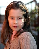pic of 7-year-old  - portrait of seven year old girl outdoors in winter - JPG