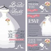 stock photo of mannequin  - Bridal shower invitation set - JPG