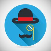 stock photo of bowler  - Gentleman Accessories Symbol bowler Hat Monocle Mustache Silhouette Icon Stylish Background Modern Flat Design Vector Illustration - JPG