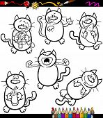 image of glass-wool  - Coloring Book or Page Cartoon Illustration of Black and White Funny Cats Set - JPG