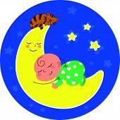 foto of baby cat  - Vector cartoon baby sleeping on the moon with little cat - JPG