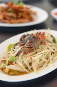 picture of green papaya salad  - spicy papaya salad with crab on dish asian spicy food - JPG