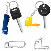 stock photo of 18 wheeler  - Semi truck key holders with keys and chains - JPG