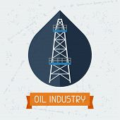 picture of derrick  - Oil derrick in oilfield background - JPG