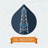 image of oilfield  - Oil derrick in oilfield background - JPG