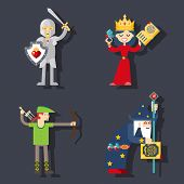 picture of templar  - Fantasy characters trendy vector flat illustrations isolated - JPG