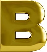 picture of letter b  - Gold metal B letter character isolated on white - JPG