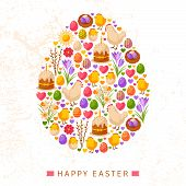 foto of happy easter  - Happy Easter Day Concept with Flat Lovely Icons Arranged in Form of Egg - JPG