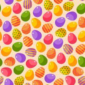 stock photo of happy easter  - Easter seamless pattern with colorful ornate eggs - JPG