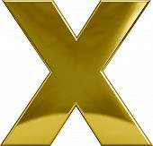 foto of letter x  - Gold metal X letter character isolated on white - JPG