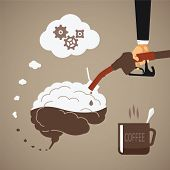pic of fatigue  - Vector concept of vigorous mind with coffee or caffeine - JPG