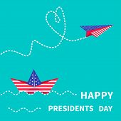 stock photo of dash  - Presidents Day background Paper boat and paperplane - JPG