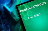 stock photo of meth  - Tablet with the chemical formula of Benzodiazepines - JPG
