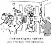 picture of courtroom  - Cartoon of filming going on inside the courtroom - JPG