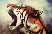 picture of airbrush  - A beautiful airbrush painting of a mighty roaring tiger emerging from an abstract cosmical background with starlights - JPG