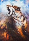 image of wildcat  - A beautiful airbrush painting of a mighty roaring tiger emerging from an abstract cosmical background with starlights - JPG