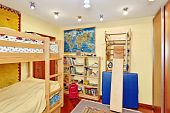 picture of bunk-bed  - Nursery room interior with two - JPG