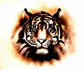 stock photo of airbrush  - A beautiful airbrush painting of a bright mighty tiger head on a soft toned abstract background - JPG