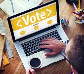 stock photo of democracy  - Digital Online Vote Democracy Politics Election Government Concept - JPG