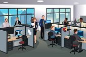 pic of cartoon people  - A vector illustration of people working in the office - JPG
