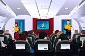 stock photo of flight attendant  - A vector illustration of flight attendant showing safety procedure to passengers - JPG
