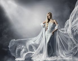 picture of flutter  - Young Woman in Fashion Shiny Dress Lady in Flying Clothes Girl under Star Light Cloth Fluttering and Flowing - JPG