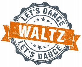 stock photo of waltzing  - waltz vintage orange seal isolated on white - JPG