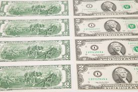 stock photo of two dollar bill  - Close up of two - JPG