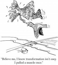 pic of transformation  - Cartoon of man learning new skill - JPG