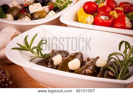 Stuffed Vine Leaves And Mediterranean Antipasti Closeup