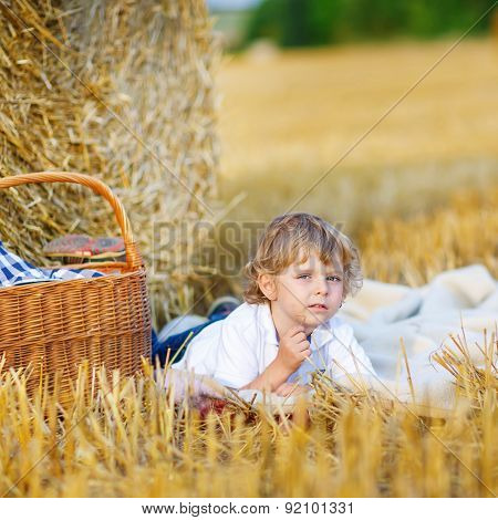 Little Boy Of 3 Years Having Picnic On Yellow Hay Field In Summer