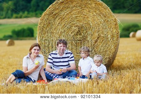 Mother, Father And Two Little Sons Having Picnic
