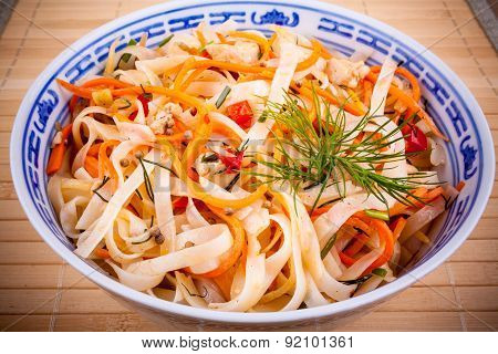 Asian Rice Noodle With Chicken Meat And Carrots