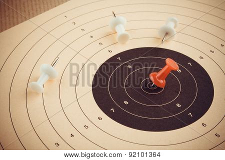 Set Goal And Win With Red Pin, Business Concept