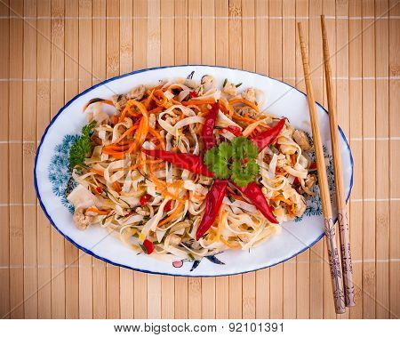 Asian Rice Noodle With Chicken Meat And Chili Star