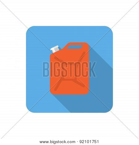 Flat Jerrycan Icon With Long Shadow. Vector Illustration