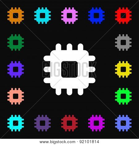 Central Processing Unit Icon Sign. Lots Of Colorful Symbols For Your Design. Vector